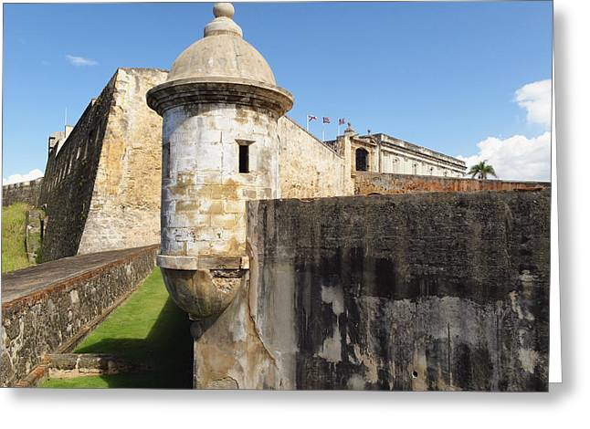 Colonial Architecture Greeting Cards - Walls of San Cristobal Fort San Juan Puerto Rico  Greeting Card by George Oze
