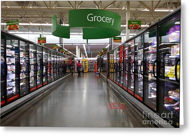 Grocery Store Greeting Cards - Walmart Supercenter frozen food aisle Greeting Card by Ben Schumin