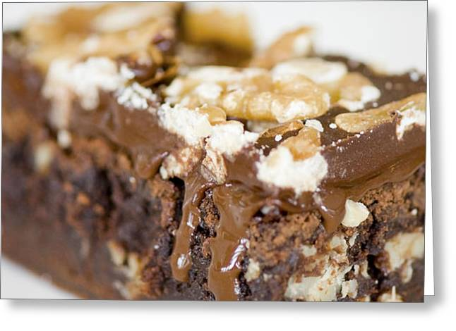 Walnut brownie on a white plate Greeting Card by Ulrich Schade