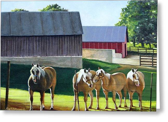 Outbuildings Greeting Cards - Walnut Grove Farm Greeting Card by Allan Paterson