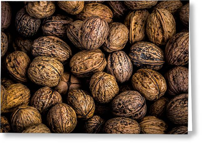 Shell Texture Greeting Cards - Walnut Harvest Greeting Card by Justin Woodhouse
