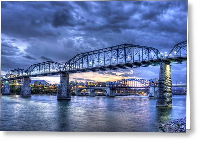 Camelback Mountain Greeting Cards - Walnut Street Pedestrian Bridge Chattanooga Tennessee Greeting Card by Reid Callaway