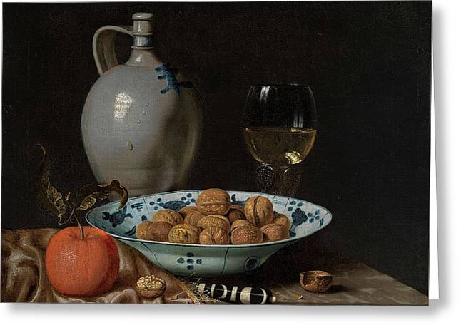Stoneware Paintings Greeting Cards - Walnuts in a Wanli porcelain bowl  Greeting Card by MotionAge Designs