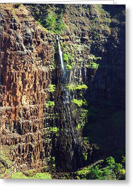 Waimea Falls Greeting Cards - Walpoo Falls Greeting Card by Michael Peychich