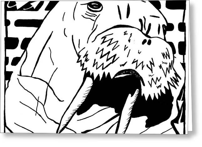 Walrus Maze Greeting Card by Yonatan Frimer Maze Artist