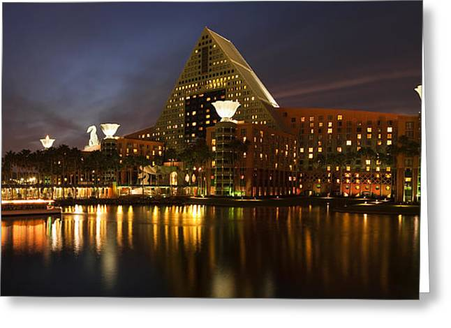 Disney Photographs Greeting Cards - Walt Disney Dolphin at Twilight Greeting Card by Andrew Soundarajan