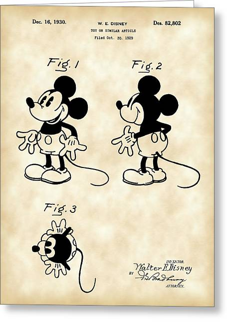 Willie Greeting Cards - Walt Disney Mickey Mouse Patent 1929 - Vintage Greeting Card by Stephen Younts