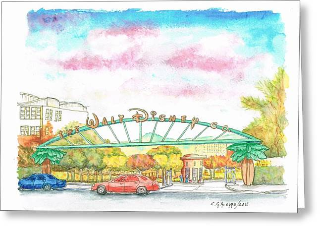 Acuarelas Greeting Cards - Walt Disney Studios in Burbank - California Greeting Card by Carlos G Groppa