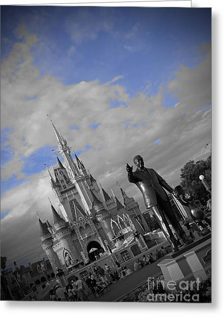 Black-and-white Pyrography Greeting Cards - Walt Disney World - Partners Statue Greeting Card by AK Photography