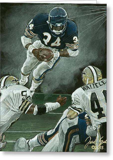 American League Pastels Greeting Cards - Walter Payton #34 Greeting Card by Jordan Spector