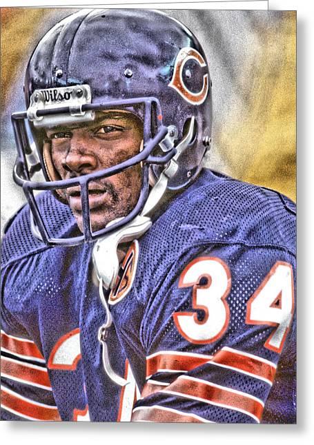 Walter Payton Chicago Bears Art Greeting Card by Joe Hamilton