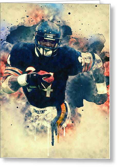 Super Stars Greeting Cards - Walter Payton Greeting Card by Taylan Soyturk