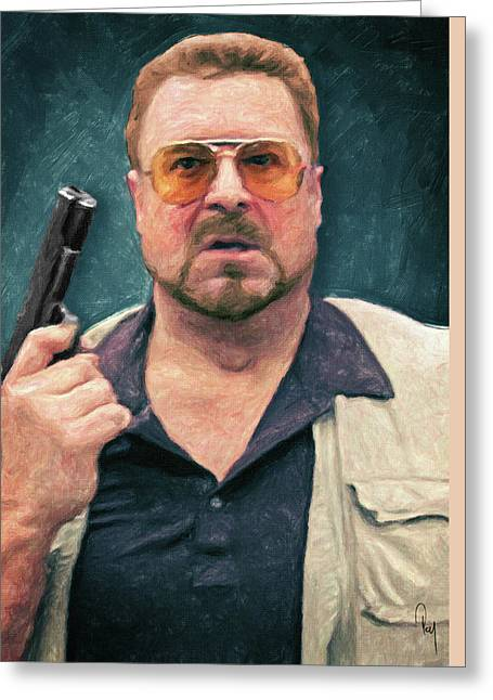 John Goodman Greeting Cards - Walter Sobchak Greeting Card by Taylan Soyturk