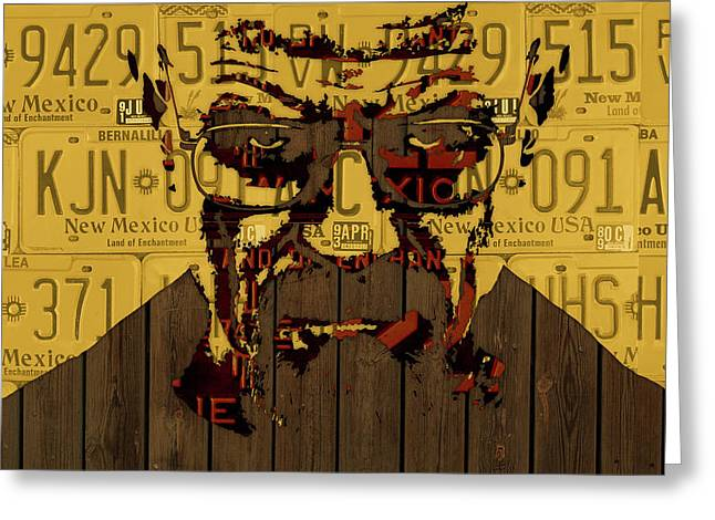 Walter White Breaking Bad New Mexico License Plate Art Greeting Card by Design Turnpike