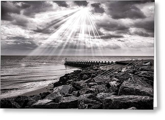 Low Light Greeting Cards - Walton-On-The-Naze Greeting Card by Martin Newman