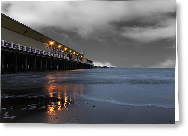 Low Light Greeting Cards - Walton Pier Greeting Card by Martin Newman