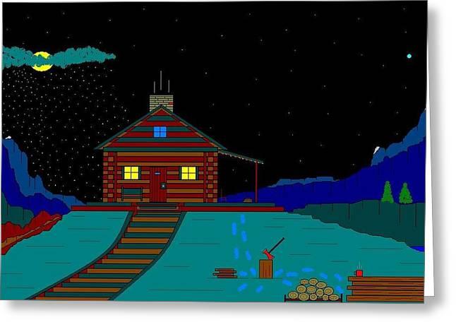 Etc. Paintings Greeting Cards - Wanda-s Cabin. Greeting Card by Richard Magin