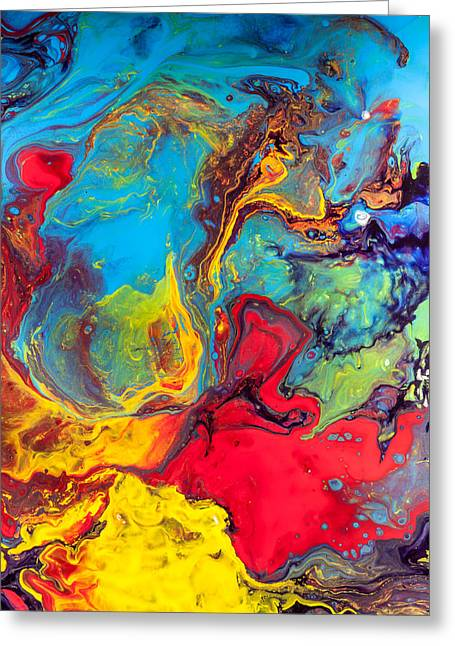 Wanderer - Abstract Colorful Mixed Media Painting Greeting Card by Modern Art Prints
