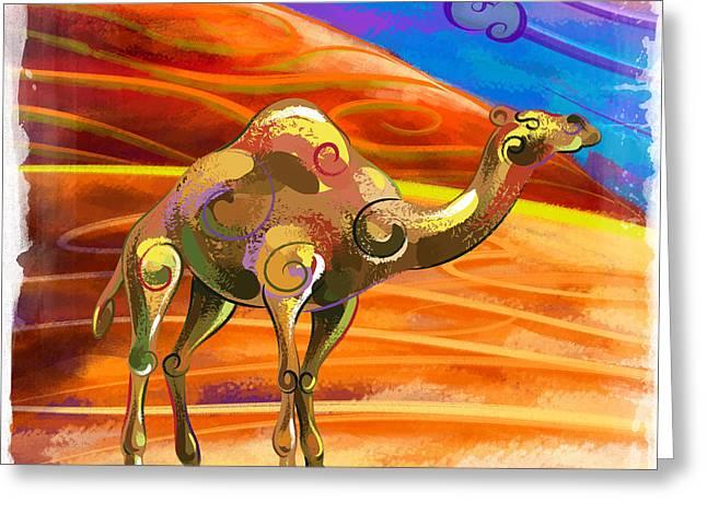 Camel Digital Greeting Cards - Wandering Camel Greeting Card by Bedros Awak
