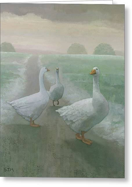 Wandering Geese Greeting Card by Steve Mitchell