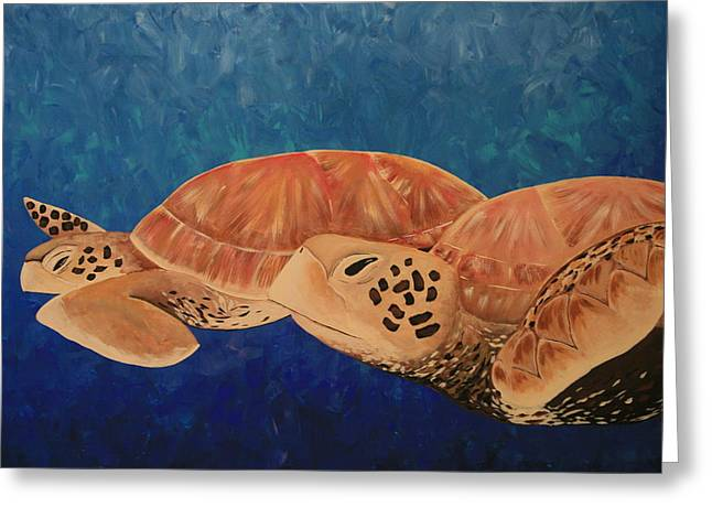 Green Sea Turtle Greeting Cards - Wandering Greeting Card by Nick Flavin