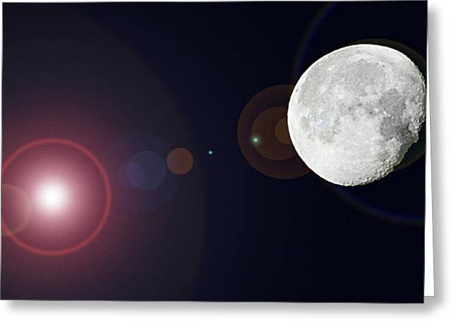 Man On The Moon Greeting Cards - Waning Gibbous Greeting Card by DigiArt Diaries by Vicky B Fuller
