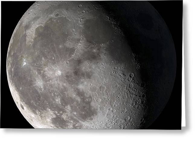 Lunar Greeting Cards - Waning Gibbous Moon Greeting Card by Stocktrek Images