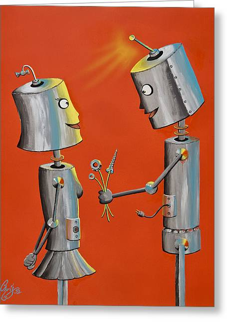 Robot Greeting Cards - Wanna Screw Greeting Card by Chris  Fifty-one