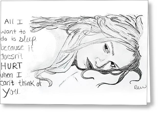 Girl Laying Down Drawings Greeting Cards - Want to sleep Greeting Card by Rebecca Wood