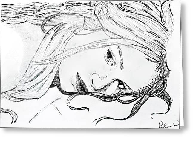Girl Laying Down Drawings Greeting Cards - Want to sleep without quote Greeting Card by Rebecca Wood