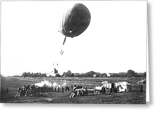 War Balloon To Bomb Germans Greeting Card by Underwood Archives