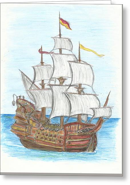 Pirate Ships Drawings Greeting Cards - War Galleon  Greeting Card by Sam Pako