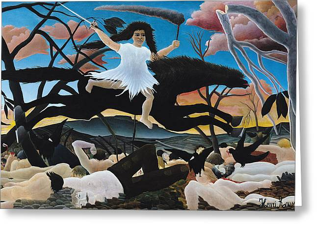 Afterlife Greeting Cards - War Greeting Card by Henri Rousseau
