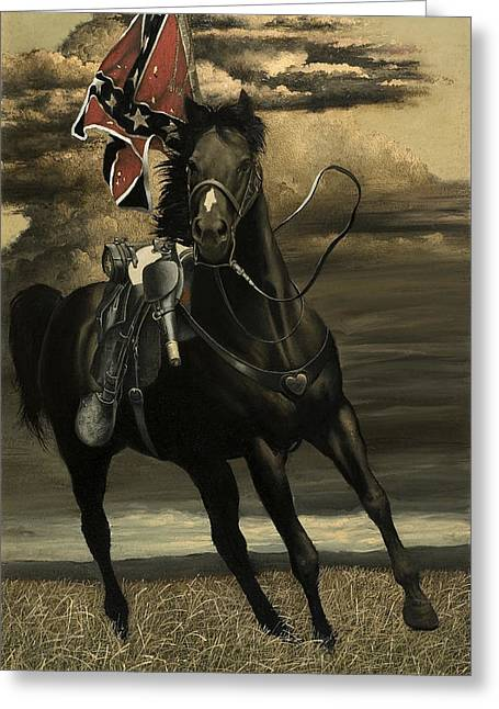 Civil Greeting Cards - War Horse Greeting Card by Ron Lesser