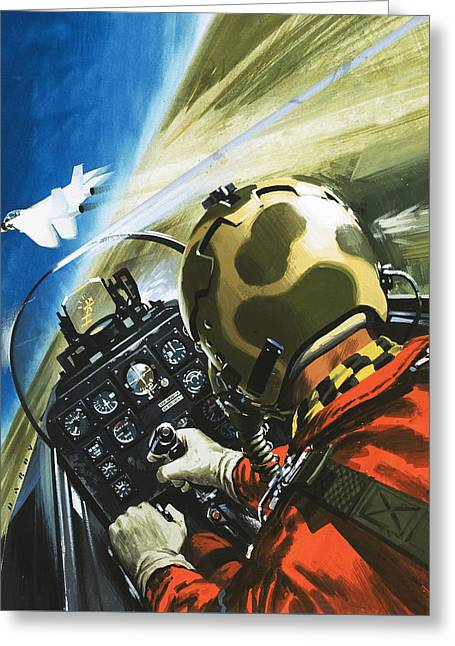 War In The Air Greeting Card by Wilf Hardy