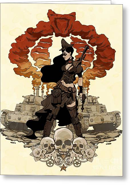 Comics Greeting Cards - War Maiden Greeting Card by Brian Kesinger