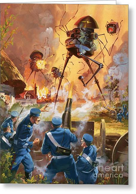 Fantasy World Greeting Cards - War of the Worlds Greeting Card by Barrie Linklater
