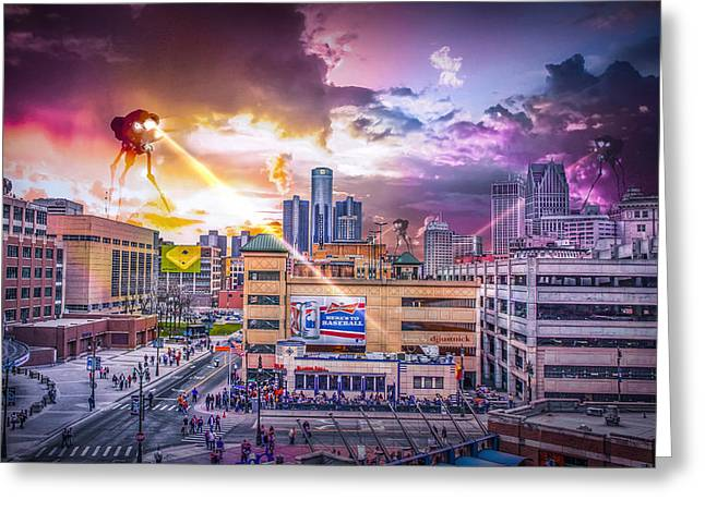Lions Greeting Cards - War of the Worlds Detroit by Nicholas Grunas Greeting Card by Nicholas  Grunas