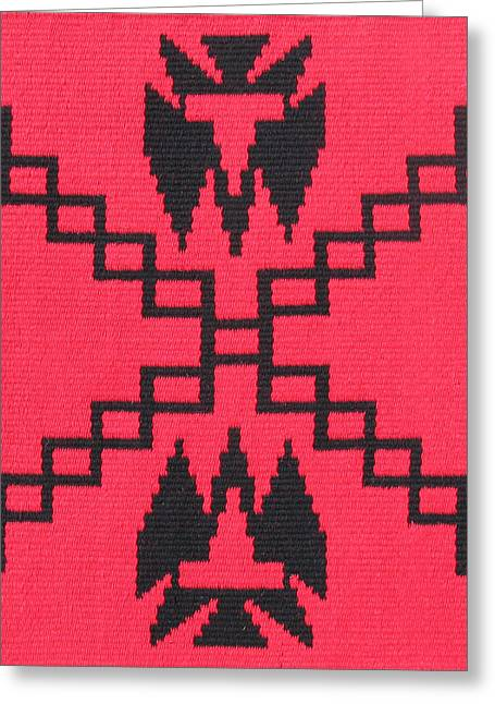 Southwest Tapestries - Textiles Greeting Cards - War Path Red Greeting Card by Judy Hilbish