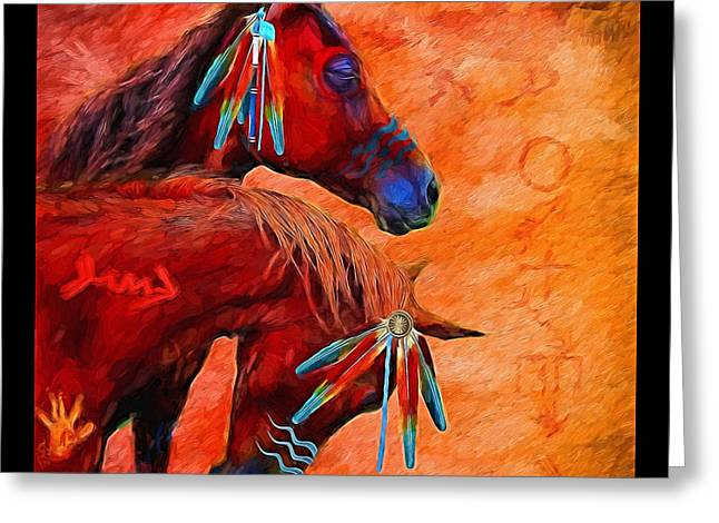 Digipho333 Studio Greeting Cards - War Ponies Greeting Card by Shannon Story