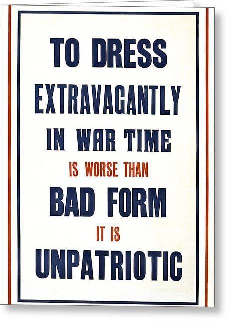 War Propaganda Greeting Cards - War Time Dress  1915 Greeting Card by Daniel Hagerman