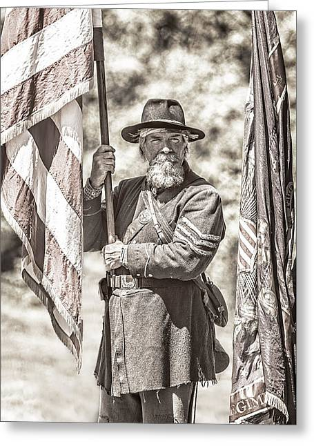 Confederate Flag Greeting Cards - War Torn Flag Bearer D3451 Greeting Card by Wes and Dotty Weber