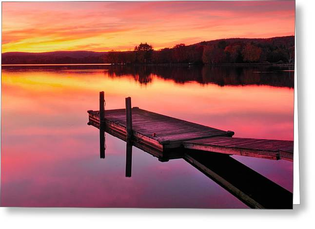 Recently Sold -  - Docked Boat Greeting Cards - Waramaug Sunset Greeting Card by Thomas Schoeller