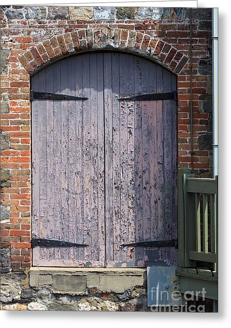 Warehouse Wooden Door Greeting Card by Thomas Marchessault