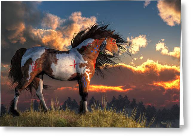 Bravery Greeting Cards - Warhorse Greeting Card by Daniel Eskridge