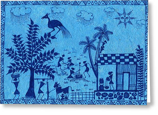 Warli Framed Prints Greeting Cards - Warli Farming Greeting Card by Subhash Limaye