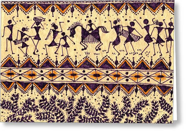 Warli Framed Prints Greeting Cards - Warli Procession Greeting Card by Subhash Limaye