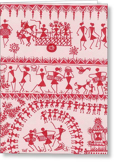 Warli Framed Prints Greeting Cards - Warli Rejoicing Greeting Card by Subhash Limaye