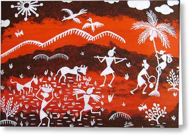 Warli Village Scene Greeting Card by Sowjanya Sreeram