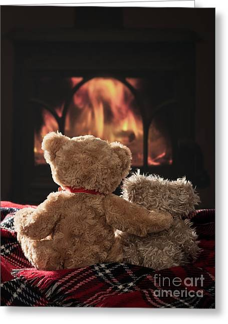 Warm And Cosy Teddies By The Fireside Greeting Card by Amanda Elwell